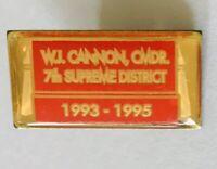 WJ Cannon Commander Supreme District VFW Military Pin Badge Rare Vintage (F5)