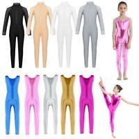Girls Shiny Gymnastics Leotard Mock Neck Ballet Dance Jumpsuit Catsuit Dancewear