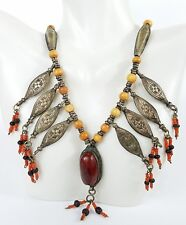 Vintage Afghani Necklace Red Jasper Silver Hand Stamped Seed Beads Ethnic Orange