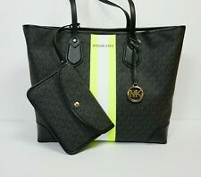 MICHAEL KORS EVA LG CENTER STRIPE SHOULDER TOTE BAG MK BLAK NEON YELLOW & POUCH