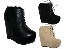 "LADIES 6"" WEDGE HEEL LACE UP ANKLE BOOT WITH PLATFORM IN 3 COLOURS SIZES 3-8"