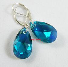 SWAROVSKI ELEMENTS Teardrop Earrings TEAL / BLUE GREEN 925 Sterling Silver