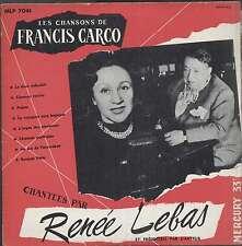 """Renée LEBAS Chansons de Francis CARCO French 10"""" MERCURY 7041"""