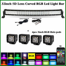 "32"" CREE LED Curved Light Bar Combo RGB Strobe Bluetooth + 4X 3 inch Halo Pods"