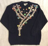 Vintage 80s 90s Sweater L Avant Garde Oversized Puffy Paint Rhinestones Hip Hop