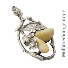 Silver PENDANT Grandel Stag Tooth Oak Leaf Antique Silver Pendant Costume S