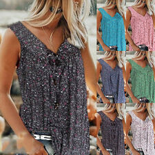Summer Women Casual Floral Print Blouse Sleeveless V Neck T Shirt Loose Tank Top