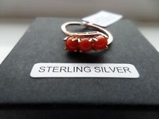 MEDITERRANEAN CORAL STERLING SILVER RING ROSE GOLD OVERLAY TRILOGY SIZES O/Q/R