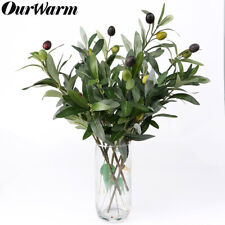 Artificial Leaf Olive Tree Branch & Olive Fruit Green Plant Silk Flowers Decor