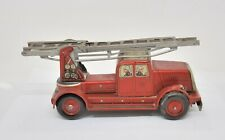 VINTAGE GERMAN TIN LITHO WIND-UP FIRE TRUCK WITH ORIGINAL KEY