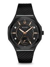 Bulova 98R240 Women's Curv Diamond-accent Black Rubber Strap 41mm Watch