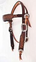 Oak Leaf Belt Harness Leather Horse Headstall Jeremiah Watt Conchos Water Ties