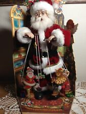"""Vintage Santa Puppeteer Animated Musical Wind Up Marionettes Christmas 18"""" RARE"""