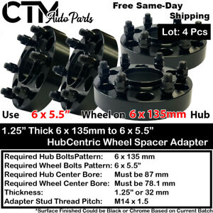 "4PC 1.25"" THICK 6X135 to 6x5.5 HUBCENTRIC WHEEL ADAPTER FIT F150/EXPEDITION/MORE"