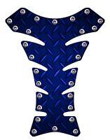 Blue Diamondplate Rivets 3D Gel Motorcycle Gas Tank Pad tankpad Protector Guard