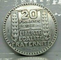 KM# 879 - 20 francs Turin 1933 RC - TTB- Argent - monnaie France - N7289