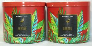Bath & Body Works 3-wick Scented Candle Lot Set of 2 SUNTAN with essential oil
