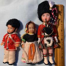 3 1960s Plastic Uk British Scottish Tourist Dolls Bagpipe Kilt Made in Hong Kong