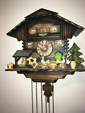 "GERMAN ANIMATED BEER DRINKERS 1 DAY MUSICAL CUCKOO CLOCK WATERWHEEL ""ALL WORKS"""