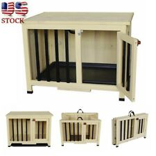 Wood Pet Dog House Folding Kennel Puppy Room Cage In/Outdoor Tray Bed Shelter