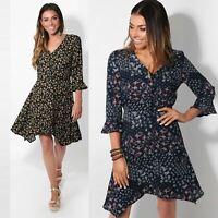 Womens Ladies Button Up Dress Frill Ruffle Sleeve Floral Hanky Hem Tea Sundress