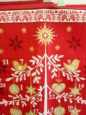 "Makower Christmas Scandi Tree Advent Panel Red 23""x44"" free p&p 100% cotton"