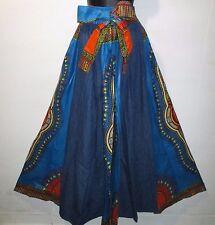 Jean Skirt Fits M L XL 1X 2X Plus Denim Cotton African Wax Print Ankara Blue NWT