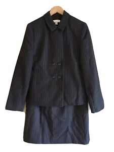 Amanda Smith NWT Women's 2 Piece Skirt Suit Gray Pinstripe Double Breasted 12P