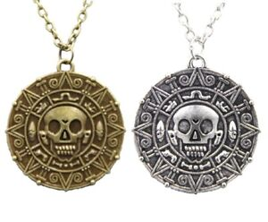 Pirates of the Caribbean Movie Aztec Coin Medallion Skull Sun Charm Necklace UK