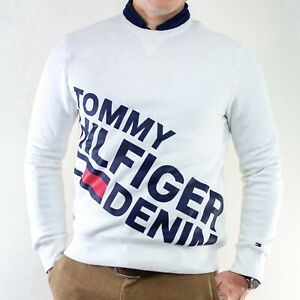NWT Tommy Hilfiger Ivory White Fleece Pullover Big Spelled Out Logo Size M