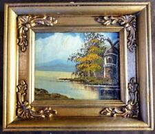 Old Vintage Miniature Landscape Lake Trees Oil Painting Framed Art   A