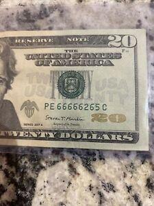 Twenty Dollar Bill $20 Fancy Serial Number, 6 of a Kind ( 6's ) Trinary Note🔥