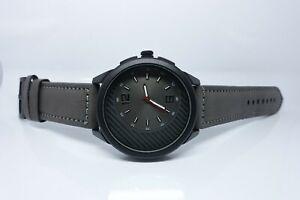 Vive Uhr Armbanduhr Neu Edelstahl Leder Schwarz Grau