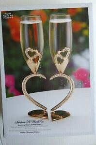 Sparkling Hearts Rose Gold Linked Flutes