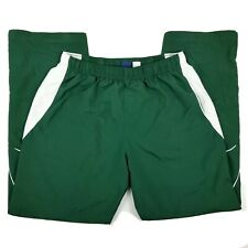 Reebok Mens Athletic Track Pants Sz M Embroidered Spell Out Logo Green White Euc