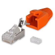 10 x Yonix ® Netzwerk Stecker RJ45 Cat 7 / 6A vergoldet Einführhilfe NSY-738OR