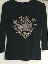 GERRY WEBER: Black With Beige Motif With Diamanté's Size12/38. 3/4 Sleeves. Used