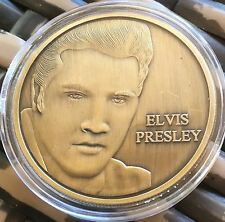 Elvis Presley Medallion Finished In Brass .999 1oz Weight Coin Capsule