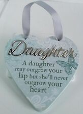'Daughter' Hanging Heart Reflective Words & Sentiments From History & Heraldry.
