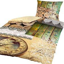 LANDHAUS HOLZ Country Style grün braun beige Bettwäsche Baumwolle 135x200 cm