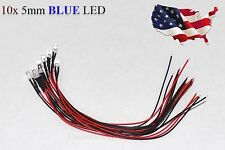 10x Blue Pre-Wired 12V 5MM LED Round Ultra-Clear Lens Bulb 12V Blue - USA