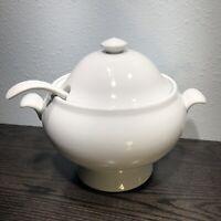 Pottery Barn Great White Porcelain Soup Tureen w/Lid & Ladle ~ 3 Piece Set
