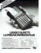 Publicité Advertising 038 1978   calculatrice  papier Logos 7 Olivetti