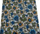 """Floral Printed White 44"""" Wd Fabric Cotton Sewing Apparel Drape Dress By 1 Meter"""
