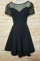 eshakti Women Size S/4 Black Fit Flare Dress Net Neck Party Cocktail Dress. 50