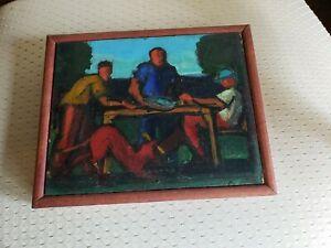 Vintage Renee Monrose Oil on Board ~People At Table~ Nice Piece!~Free Ship!