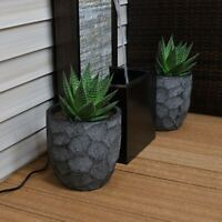 Sunnydaze Fiber Clay Carved Planter Indoor/Outdoor Dark Gray - Set of 2 - 9""