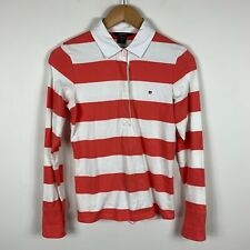 Gant Womens Polo Shirt Top Size Small (AU 8) Red White Stripe Long Sleeve