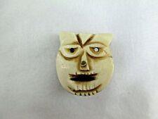 Vintage Carved Bovine Bone Button Pendant Asian CAT Face 458B