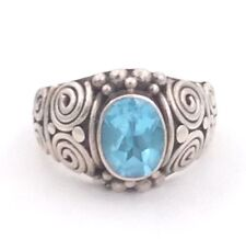 Sterling Silver Blue Topaz Ring Size 5.5